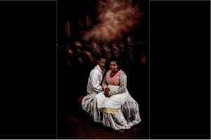 Couples pose for pictures in Babas Studio, Trivandrum, Kerala (2016)