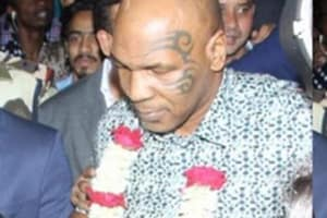 Mike Tyson snapped at the Mumbai airport.