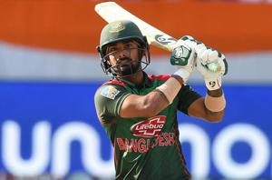 Liton Das plays a shot during the Asia Cup final between Bangladesh and India.
