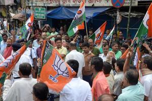 BJP supporters taking out a rally in Kolkata on September 26 , 2018 in support of the Bengal bandh on the issue of death of two former students in Islampur, North Dinajpur in alleged police firing during a protest against delay in recruitment of teachers.