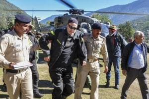 Stranded tourists being brought to Kullu after they were rescued by the Indian Air Force from snow-bound Lahaul- Spiti district of Himachal Pradesh, Wednesday, Sep 26, 2018.  Rescue operations are continuing in the state.