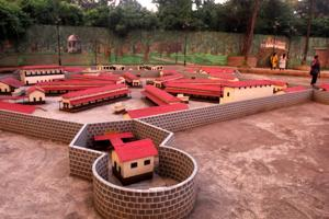 A miniature model of the Thane Central Jail at the Old Thane New Thane theme park in Patlipada.