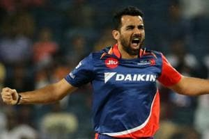 File photo of Zaheer Khan while playing in the IPL for Delhi Daredevils.