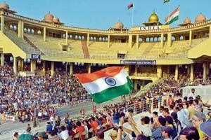 Visitors during beating the retreat ceremony at the Attari-Wagah border in Amritsar. The ceremony is being jointly followed by the two countries since 1959.
