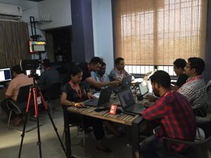 Journalists at the East Mojo newsroom in Guwahati