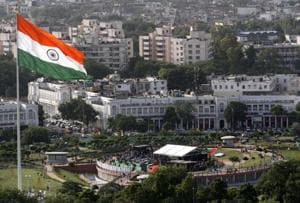 National flag flutters at Connaught Place's Central Park in New Delhi.