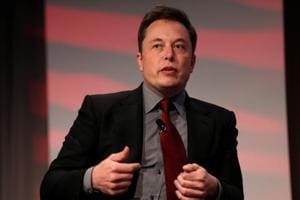Tesla Motors CEO Elon Musk talks at the Automotive World News Congress at the Renaissance Center in Detroit, Michigan.