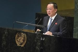 North Korea's foreign minister Ri Yong Ho (pictured) accused Washington of creating a deadlock in talks on denuclearisation of the Korean peninsula.