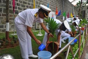 The WNC developed 37.53 acres of green areas and open spaces at their Mumbai headquarters with naval officers having planted 9,880 saplings with a survival rate of 85%.