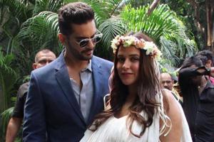 Angad Bedi and Neha Dhupia at the baby shower.
