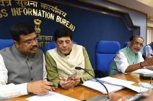 Union Ministers Dharmendra Pradhan, Piyush Goyal and Radha Mohan Singh during a cabinet briefing after cabinet ministers meeting, at Shastri Bhawan in New Delhi, on September 12, 2018.