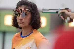 Palembang: Indian shooter Manu Bhaker competes in the 10m air pistol qualification round at the Asian Games 2018.