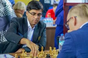 Five-time world champion Viswanathan Anand  in action during the Chess Olympiad in Batumi.