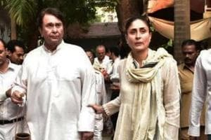 Kareena Kapoor with her father Randhir Kapoor at the funeral of her grandmother Krishna Raj Kapoor. She died on Monday at 87 years old.
