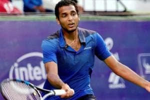 Ramkumar Ramanathan in action for India during the Davis Cup.