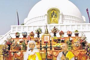 The largest congregation of tourists at the World Peace Pagoda in Bihar's Rajgir is seen during the anniversary celebrations on October 25.