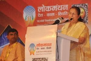 Speaker Lok Sabha Sumitra Mahajan addressing the a select gathering during the concluding function of three day conference Lok Manthan 2018 at Khel Gaow Hotwar in Ranchi on September 30, 2018.