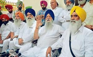 SAD MP Ranjit Singh Brahmpura (C), flanked by SAD leader Sewa Singh Sekhwan (left) and ex-MP Rattan Singh Ajnala, addressing mediapersons in Amritsar on Sunday.