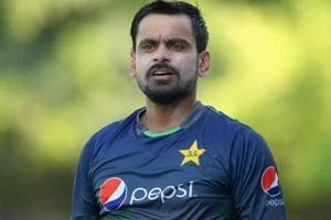 Mohammad Hafeez of Pakistan during a nets session at the ICC Cricket Academy.
