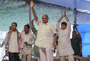 NCP chief Sharad Pawar with other party leaders at their Vijay Sankalp rally at Beed in Marathwada on Monday.