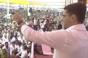 State Congress president Sachin Pilot addresses the Kisan Rally in Rajsamand district on Sunday, September 30, 2018.