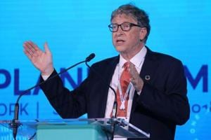 Bill Gates was speaking at the Goalkeepers event in New York that showcased efforts made to meet the UN's sustainable development goals.