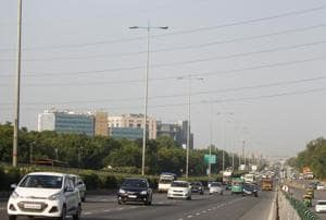 A view of National Highway 48, near Rajiv Chowk, in Gurugram, on Sunday, September 30, 2018. Gurugram was the second most polluted city in the country on September 28 and 29, with Noida being ranked the most polluted by a difference of one index point.