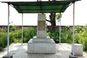 The memorial dedicated to Mahatma Gandhi in Arnala, a coastal village in Mumbai suburb Virar.