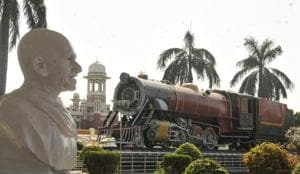 Mahatma Gandhi's statue at Charbagh railway station in Lucknow.