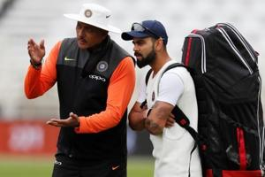 File image of India skipper Virat Kohli (right) with head coach Ravi Shastri.