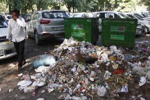Garbage seen on road, near Mini Secretariat, in Gurugram, on Monday, October 01, 2018.