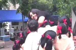Priyanka Chopra captured the internet's heart when she shared  an adorable video of her dancing to LoveYatri's Chogada song with school students. (Instagram)