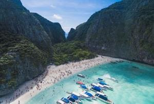 Maya Bay, ringed by cliffs on Ko Phi Phi Ley island, was made famous when it featured in the 2000 film starring Leonardo DiCaprio.