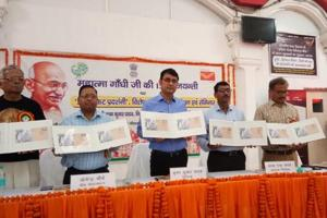 Postage cover with cancellation on the theme of 'Swachhata Hi Sewa' being released.