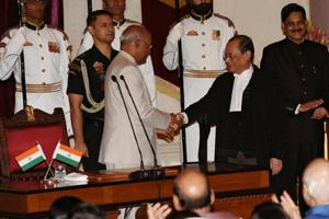 President Ram Nath Kovind greets the new Chief Justice of India Ranjan Gogoi at the swearing in ceremony in Rashtrapati Bhavan in New Delhi on October 3, 2018.