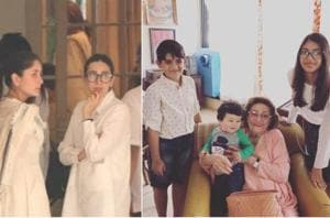 Karisma Kapoor shared a picture of grandmother Krishna Raj Kapoor with her children and Kareena's son.