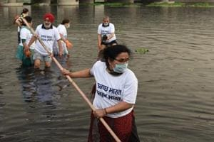 The Yamuna being cleaned as part of the Swachh Bharat Abhiyan at Chath Ghat in New Delhi.