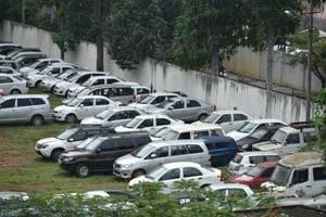 A view of a seized cars at RR Nagar in Bengaluru.
