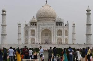 Tourists at the Taj Mahal in Agra.