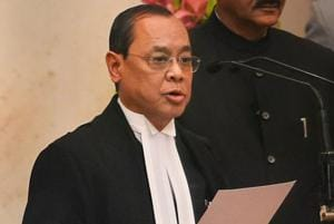 Justice Ranjan Gogoi takes his oath of office after he was appointed as the 46th Chief Justice of India, at Rashtrapati Bhawan in New Delhi, Oct 3, 2018.