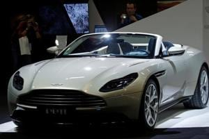 The Aston Martin DB11 at the Paris auto show in France.