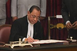 Justice Ranjan Gogoi was sworn in as the 46th Chief Justice of India on Wednesday.