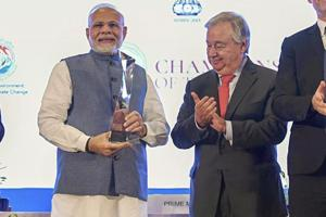 Prime Minister Narendra Modi with United Nations Secretary General Antonio Guterres after receiving UN