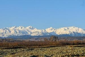 A photo of snow covered mountains in south Kashmir