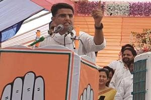 Rajasthan Congress chief Sachin Pilot addressing a public meeting of Congress party in Sangod town of Kota district on  Tuesday, October 2, 2018.