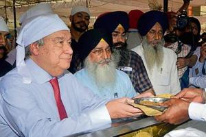 United Nations Secretary-General Antonio Guterres partaking of langar at the Golden Temple in Amritsar on Wednesday.