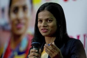 Indian sprinter Dutee Chand speaks during a press conference in Hyderabad.