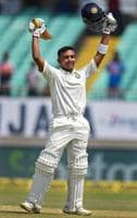 Rajkot: Indian batsman Prithvi Shaw celebrates his century on day one of the 1st test cricket match against West Indies, in Rajkot, Thursday, Oct 4, 2018. Shaw becomes the youngest Indian cricketer to score 100 runs on Test debut. (PTI Photo/Shashank Parade) (PTI10_4_2018_000035B)