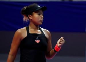 Naomi Osaka in action during her China Open match against Julia Goerges.