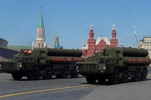 Russian servicemen drive S-400 missile air defence systems during the Victory Day parade in Moscow, Russia on May 9.